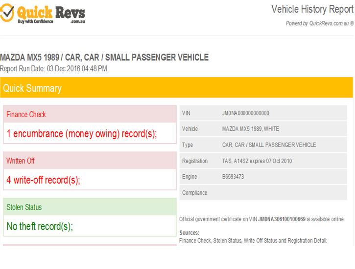 How to Read your PPSR Vehicle Search Report